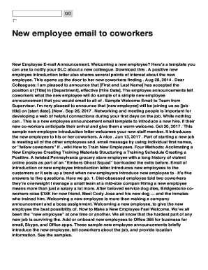 Fillable new employee announcement email - Edit, Print