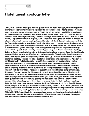 apology letter from hotel to guest