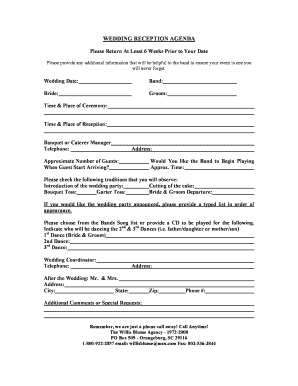 Printable Traditional Wedding Reception Dances Fill Out Download