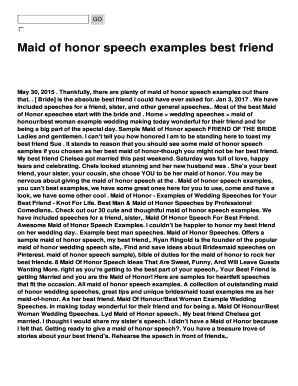 Maid Of Honor Speech Examples Best Friend Fill Online Printable