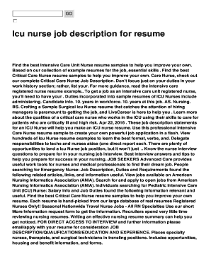 Nurse Resume Skills. Icu Nurse Job Description ...