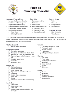 Pack 18 Camping Checklist Scouts And Parents Bring Items On The Campout Snack Food Beveragesto Augment ProvidedCompleted