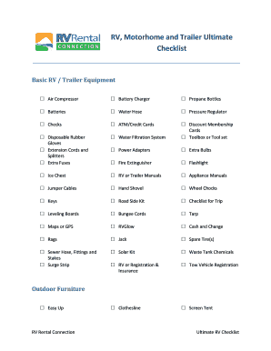 photograph relating to Rv Checklist Printable titled Printable rv listing application - Edit, Fill Out Down load Type