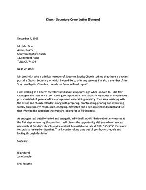 Fillable Online Church Secretary Cover Letter (Sample) Fax ...