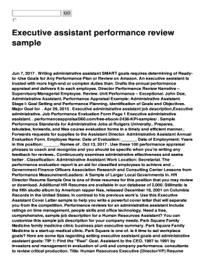 Executive Assistant Performance Review Fill Online