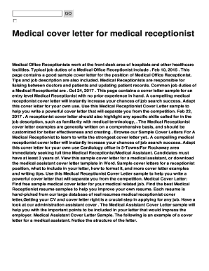cover letter medical receptionist position
