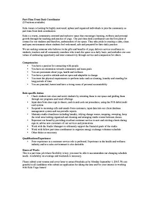 Front Desk Coordinator Cover Letter