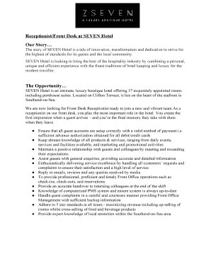 Hotel Front Desk Resume No Experience Fill Out Online