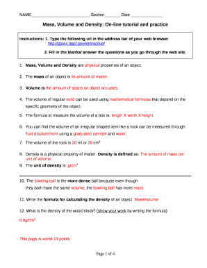 Mass Volume And Density Worksheet Answer Key Doc Template Pdffiller