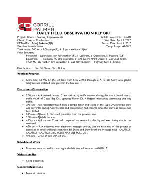 DAILY FIELD OBSERVATION REPORT Fill Online, Printable