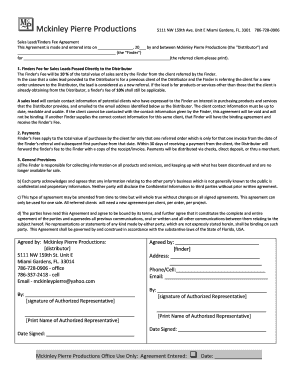 Editable finder fee agreement for sales leads - Fill Out & Print