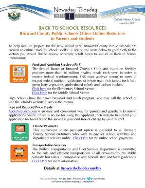 Fillable lunch menu broward schools - Edit, Print & Download
