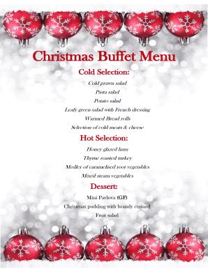 Christmas Menu Ideas.Fillable Cold Christmas Buffet Menu Ideas Edit Online
