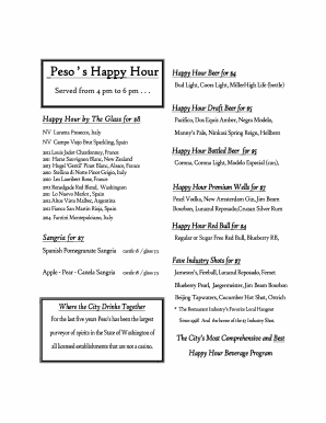 Happy Hour Menu Template Free Fill Out Online Download Printable