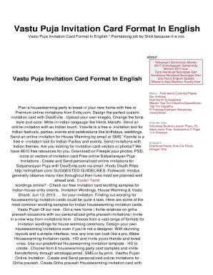 Vastu Puja Invitation Card Format In English Fill Online
