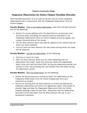 Printable classroom observation checklist - Fill Out