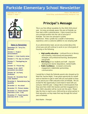 parkside elementary school newsletter fill online printable