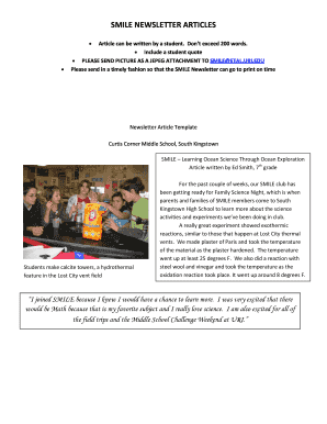 Smile Newsletter Articles Fill Online Printable Fillable Blank