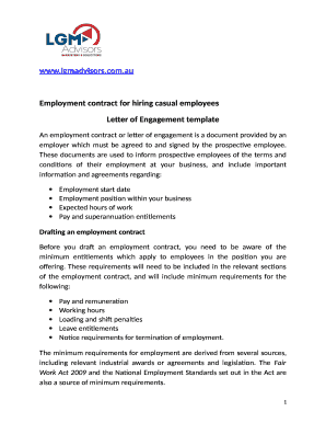 Editable Casual Employment Contract Template Free Download Fill