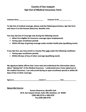Medical Insurance Opt Out Form