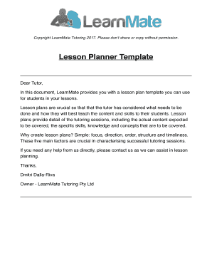Tutor Lesson Plan Template Images Design Free Download