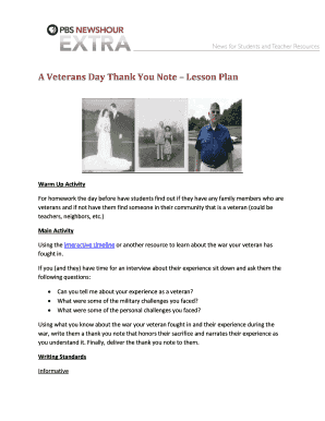 fillable online a veterans day thank you note lesson plan fax email