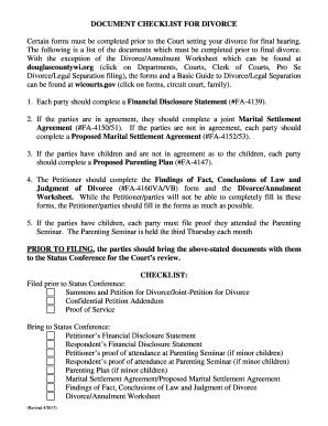 Printable Divorce Settlement Agreement Checklist Fill Out