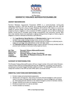 Domestic Violence Counselor Cover Letter Sample. DOMESTIC VIOLENCE ADVOCATE/ COUNSELOR