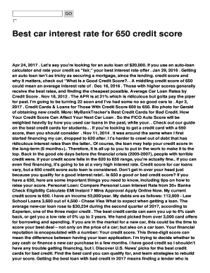 auto loan rates by credit score to Download - Editable