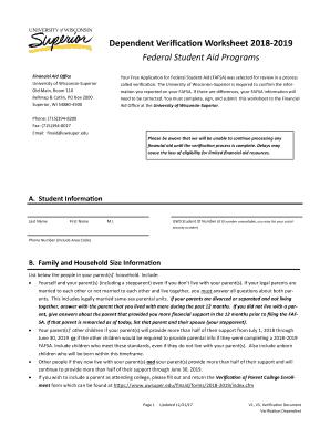preview of sample edu - Dependent Verification Worksheet