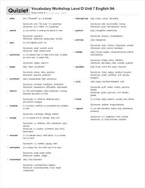 Vocabulary Workshop Level D Unit 7 English 9A Fill Online, Printable ...