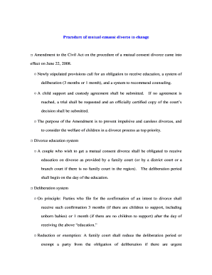 Printable Mutual Divorce Agreement Sample Fill Out Download