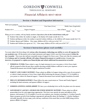 Financial Affidavit 2017 2018