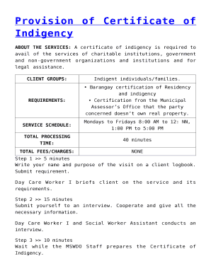 Barangay Certificate Of Indigency Sample Editable Fillable