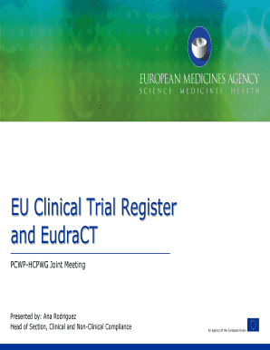 Fillable eudract clinical trials - Edit Online & Download Samples in
