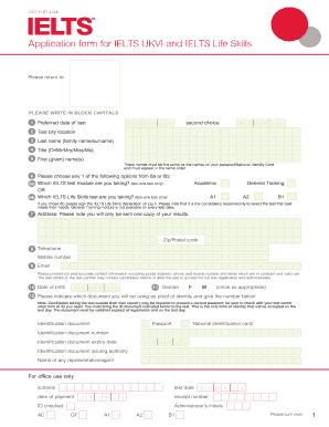 Application form for IELTS UKVI and IELTS Life Skills Fill