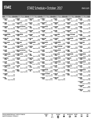 Fillable Online STARZ Schedule October, 2017 Fax Email Print