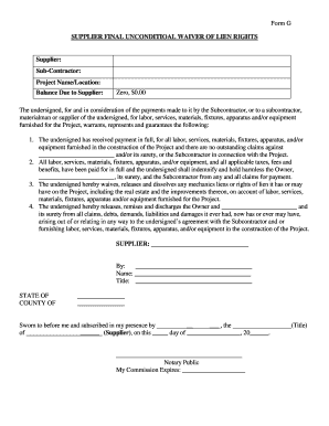 Fillable Final Lien Waiver Form Download Templates In Pdf