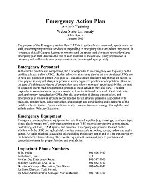 Emergency action plans | korey stringer institute.