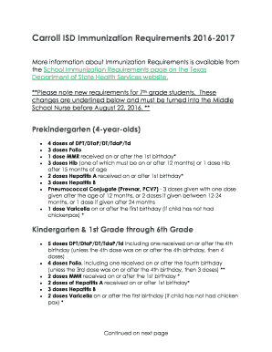 Editable 2016 2017 texas immunization requirements - Fill Out, Print