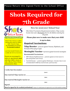 Shots Required for Fill Online, Printable, Fillable, Blank