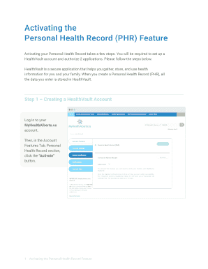 personal health record forms