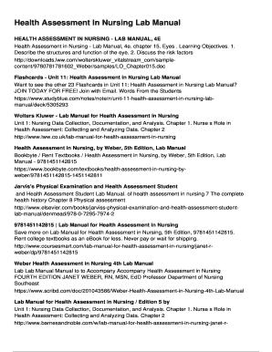 Health Assessment In Nursing Lab Manual Fill Online, Printable