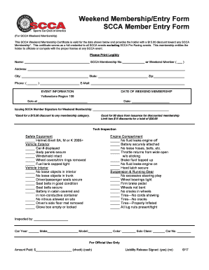 Weekend Membership/Entry Form  Membership Forms Templates