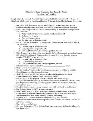 after death checklist for survivors fill out online download