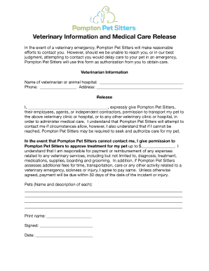 printable sample veterinary release form for pet sitters edit