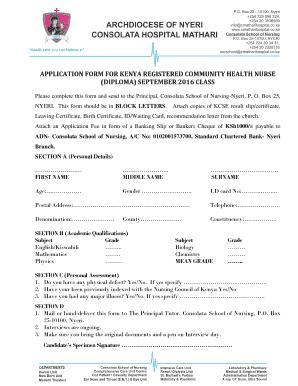 Fillable kcse leaving certificate form edit online download application form for kenya registered community health nurse yadclub Gallery