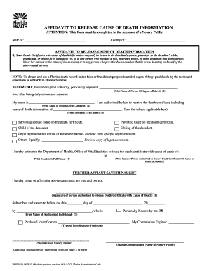Fillable affidavit of death certificate florida edit online attention this form must be completed in the presence of a notary public yadclub Images