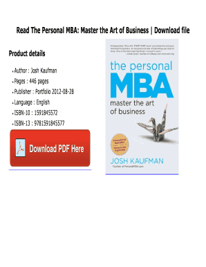 Fillable Online Pdf The Personal Mba Master Art Of Business Full