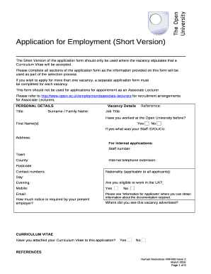 Fillable Online The Short Version Of The Application Form Should